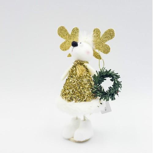 2 PCS Christmas Decorations Cute Santa Snowman Doll Decorations Holding Small Gifts Christmas Dolls (C Christmas Elk)