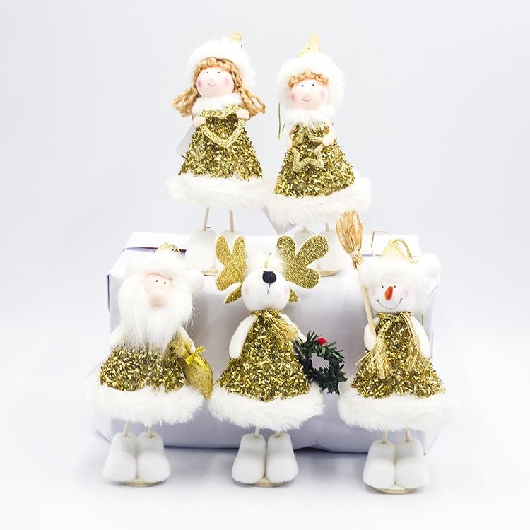 2 PCS Christmas Decorations Cute Santa Snowman Doll Decorations Holding Small Gifts Christmas Dolls (D Santa Claus)