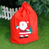 2 PCS Christmas Woven Santa Claus Snowman Candy Gift Bag (Old Man)