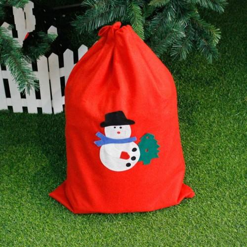 2 PCS Christmas Woven Santa Claus Snowman Candy Gift Bag (Snowman)