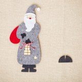 CP0242 2 PCS Christmas Decoration Ornaments Wooden Felt Santa Spelling Table Setting Creative Santa Claus Decorations (Gray)
