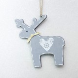 2 PCS Christmas Decoration Wood Elk Christmas Tree Pendant Creative Painting Love Deer Pendant, Specification: Gray