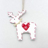 2 PCS Christmas Decoration Wood Elk Christmas Tree Pendant Creative Painting Love Deer Pendant, Specification: Red