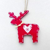 2 PCS Christmas Decoration Wood Elk Christmas Tree Pendant Creative Painting Love Deer Pendant, Specification: White