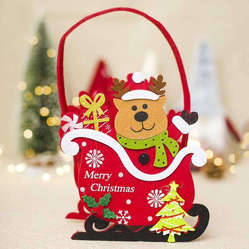 2 PCS Creative Christmas Felt Candy Basket Storage Basket Decoration (Fawn)