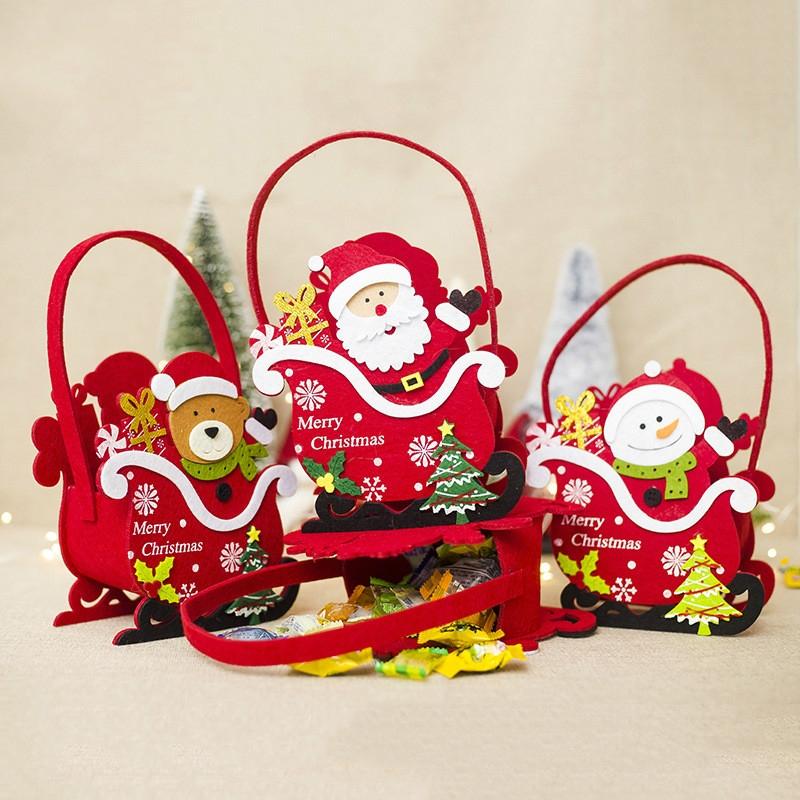 2 PCS Creative Christmas Felt Candy Basket Storage Basket Decoration (Bear)