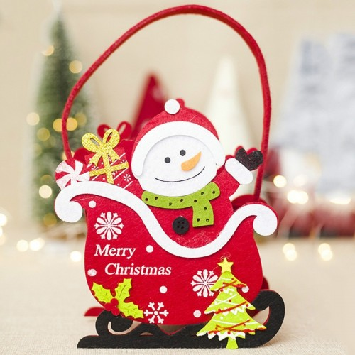 2 PCS Creative Christmas Felt Candy Basket Storage Basket Decoration (Snowman)