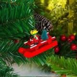 2 PCS Christmas Tree Sleigh Snowman Santa Elk Wood Pendant Ornament (Elk)