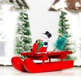 2 PCS Christmas Tree Sleigh Snowman Santa Elk Wood Pendant Ornament (Snowman)