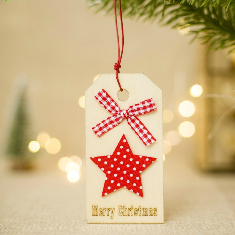 2 PCS Christmas Wooden Crafts Christmas Creative Wooden Sign Ornaments Christmas Tree Decoration Wooden Sign (Star)