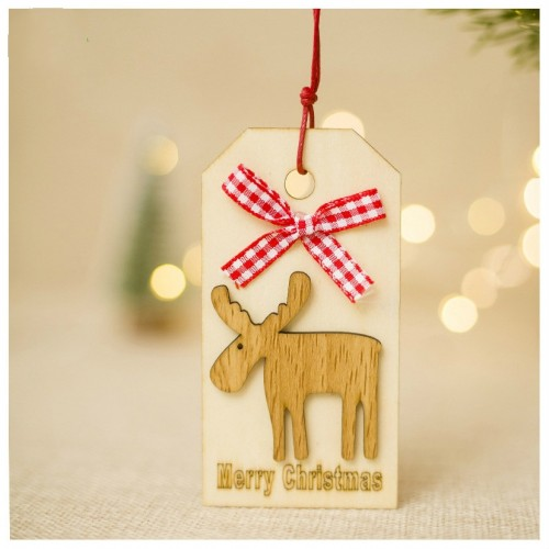 2 PCS Christmas Wooden Crafts Christmas Creative Wooden Sign Ornaments Christmas Tree Decoration Wooden Sign (Fawn)
