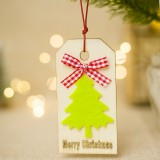 2 PCS Christmas Wooden Crafts Christmas Creative Wooden Sign Ornaments Christmas Tree Decoration Wooden Sign (Tree1)