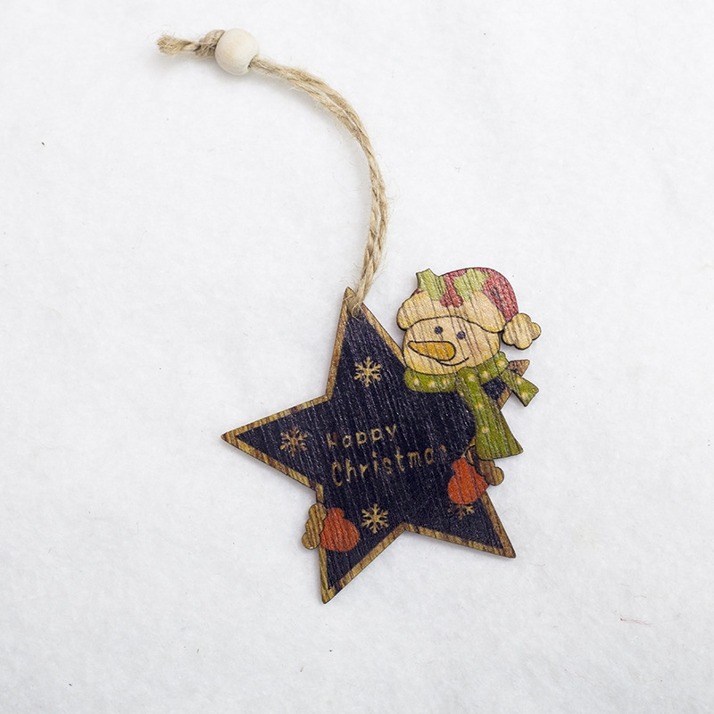 2 PCS Creative Christmas Tree Pendants Mini Painted Small Wooden Small Pendants (Five-pointed Star Snowman)