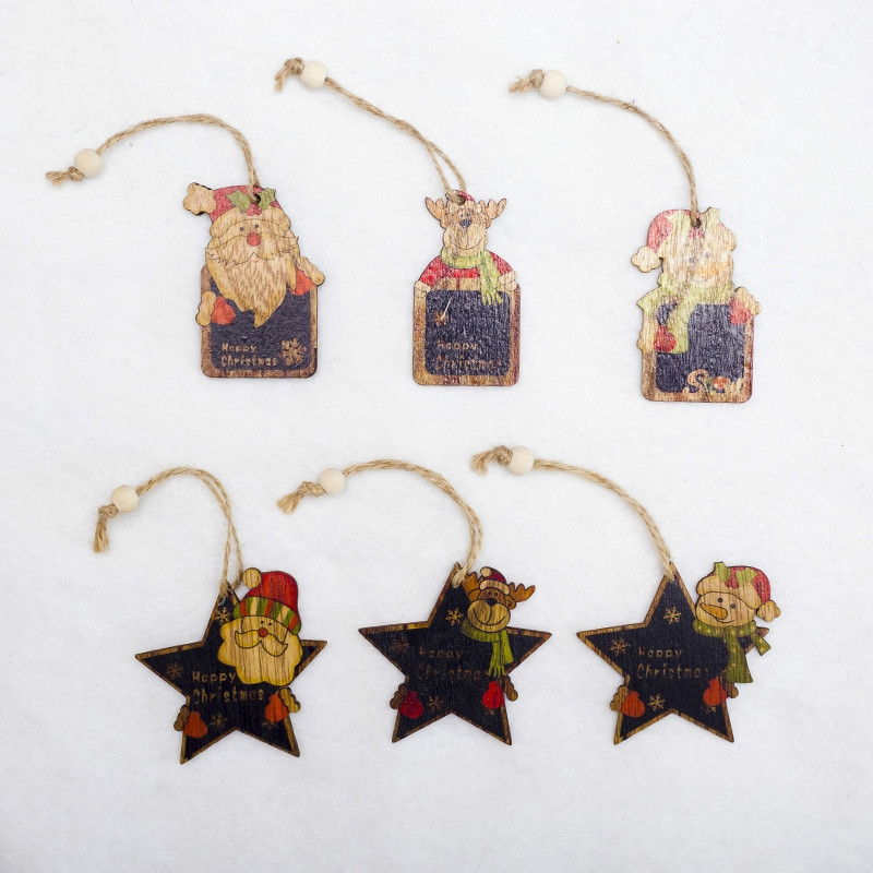 2 PCS Creative Christmas Tree Pendants Mini Painted Small Wooden Small Pendants (Five-pointed Star Deer)