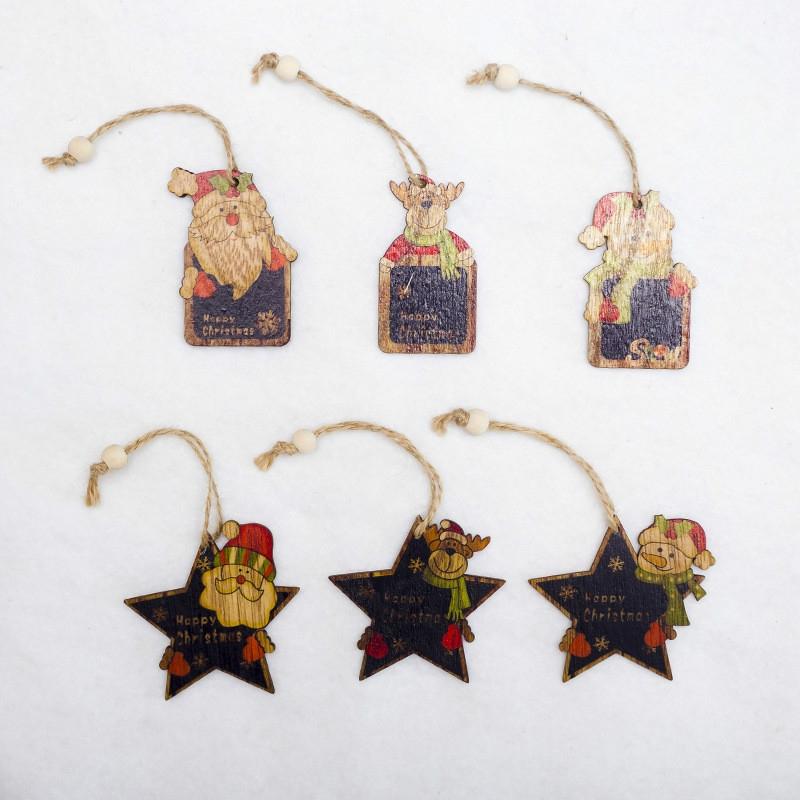 2 PCS Creative Christmas Tree Pendants Mini Painted Small Wooden Small Pendants (Deer)