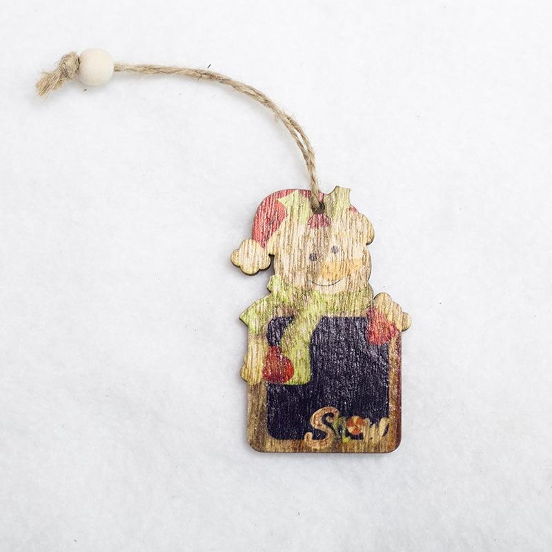 2 PCS Creative Christmas Tree Pendants Mini Painted Small Wooden Small Pendants (Snowman)
