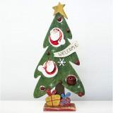 2 PCS Creative Christmas Painted Wooden Vintage Openwork Bell Decoration Christmas Tree Table Pendulum (Santa Claus)