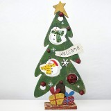 2 PCS Creative Christmas Painted Wooden Vintage Openwork Bell Decoration Christmas Tree Table Pendulum (Christmas Snowman)