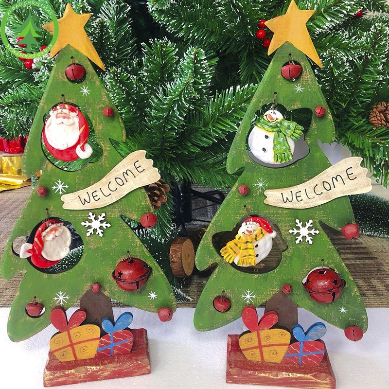 2 PCS Creative Christmas Painted Wooden Vintage Openwork Bell Decoration Christmas Tree Table Pendulum (Christmas Snowman)