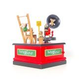 2 PCS Christmas Wooden Painted Music Box Cartoon Radio Shape Music Box Decoration (Red)