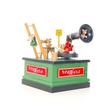 2 PCS Christmas Wooden Painted Music Box Cartoon Radio Shape Music Box Decoration (Green)