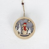 2 PCS Christmas Wooden Creative Santa Snowman Elk Lamp Lighting Pendant (Snowman)