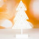 2 PCS Christmas Creative White Openwork Christmas Tree with Lights Ornaments (Christmas Tree)