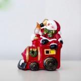 2 PCS Christmas Painted Creative Ceramic with Lamp Desktop Decoration (Christmas Snowman)