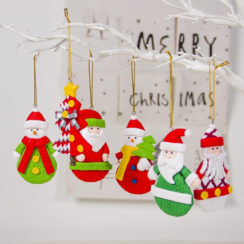 2 PCS Christmas Colored Sparkling Santa Claus Pendant Creative Christmas Tree Decoration Accessories (Green Snowman)