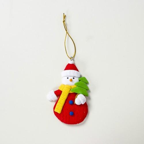 2 PCS Christmas Colored Sparkling Santa Claus Pendant Creative Christmas Tree Decoration Accessories (Red Snowman)