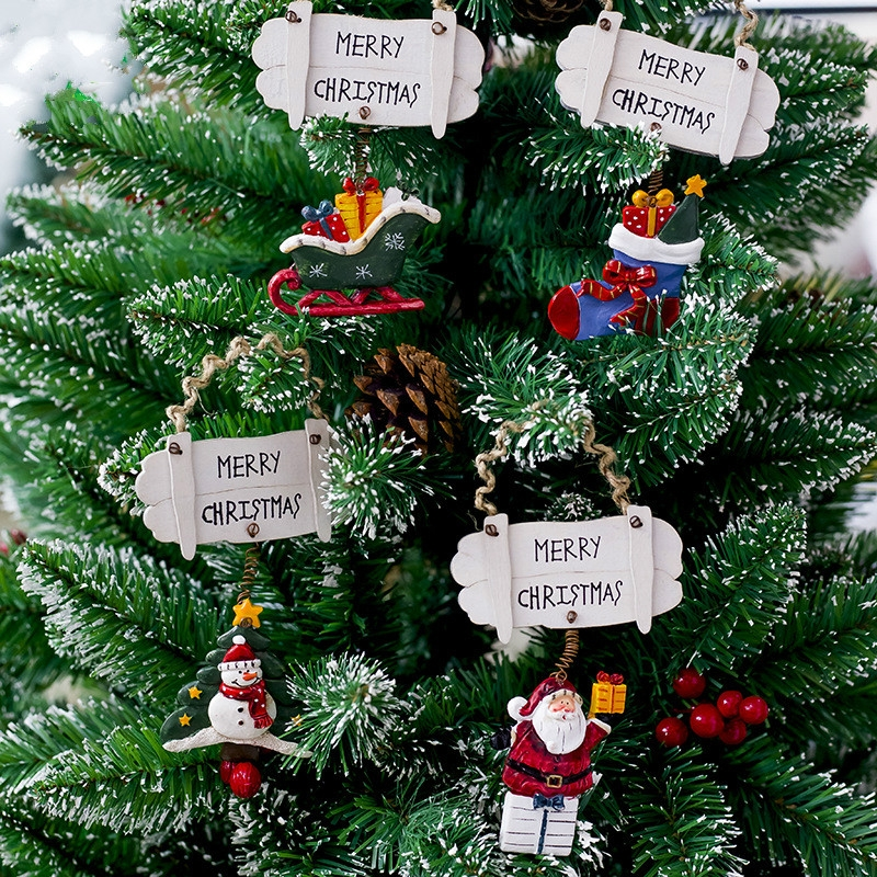 2 PCS Christmas Resin Painted Pendant Christmas Creative Letter Door And Window Decorations Christmas Tree Wooden Decoration Tag (Christmas Socks)