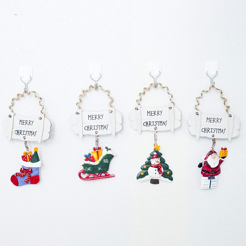 2 PCS Christmas Resin Painted Pendant Christmas Creative Letter Door And Window Decorations Christmas Tree Wooden Decoration Tag (Christmas Sleigh)