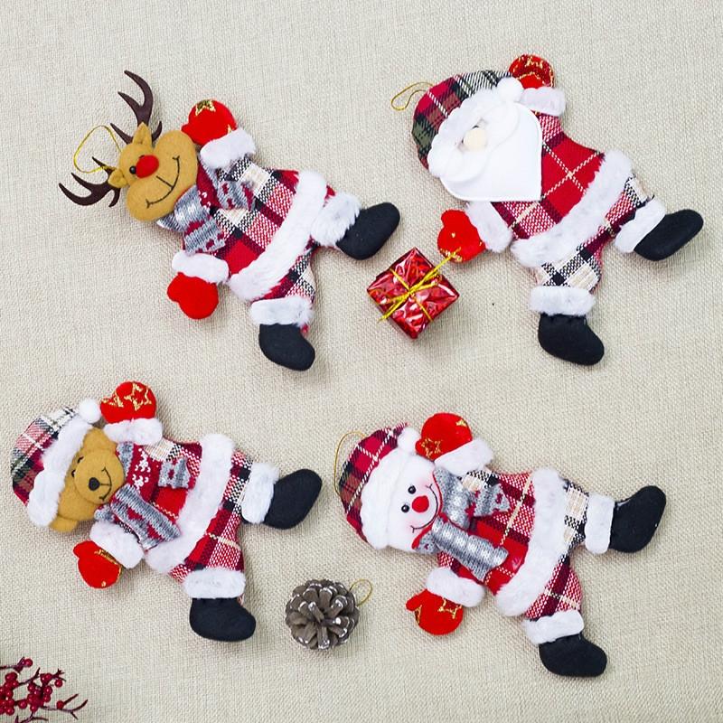 2 PCS Christmas Doll Pendant Santa Plush Small Ornaments Plush Small Doll Bag Hanging Ornaments (Christmas Snowman)