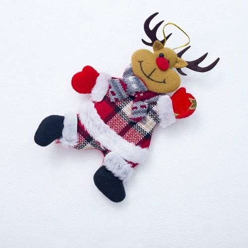 2 PCS Christmas Doll Pendant Santa Plush Small Ornaments Plush Small Doll Bag Hanging Ornaments (Christmas Elk)