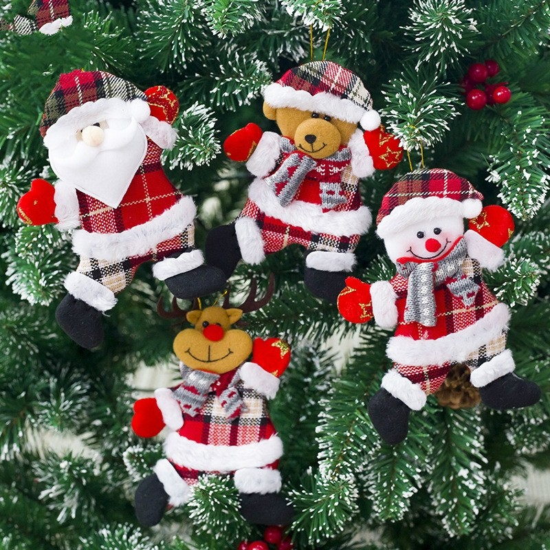 2 PCS Christmas Doll Pendant Santa Plush Small Ornaments Plush Small Doll Bag Hanging Ornaments (Christmas Elk)