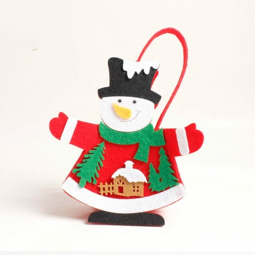 2 PCS Christmas Santa Claus thick Non-woven Candy Gift Decorative Bag (Snowman)