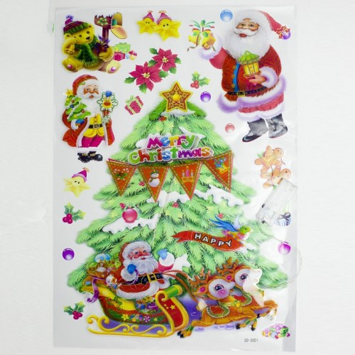 Christmas Decorations Creative Christmas Lights Window Stickers Christmas Color Stickers Door Window Decorations (Christmas Tree)