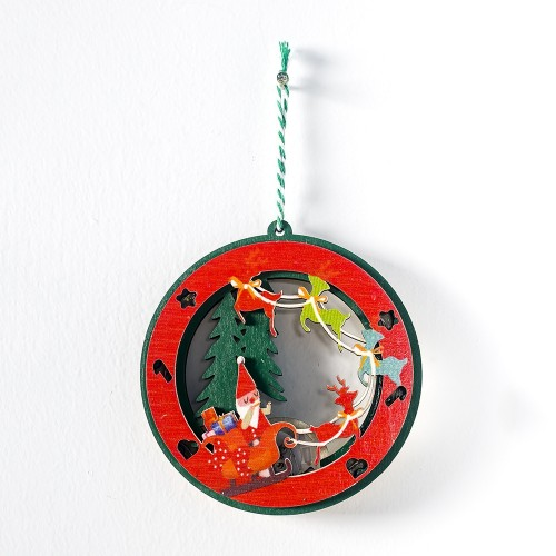 2 PCS Christmas Decorations Painted Wooden Three-Dimensional Santa Claus Lights Pendants Creative Christmas Tree Small Listing (Deer)
