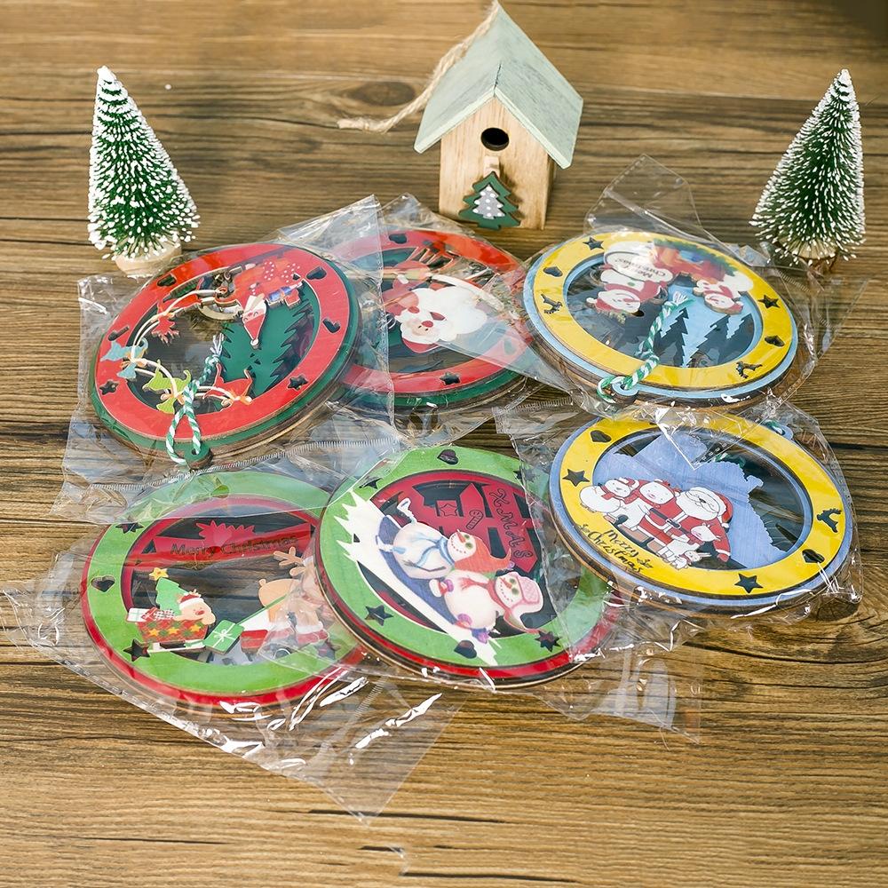 2 PCS Christmas Decorations Painted Wooden Three-Dimensional Santa Claus Lights Pendants Creative Christmas Tree Small Listing (Snowman)