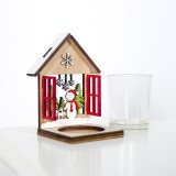2 PCS Christmas Decoration Wooden Three-Dimensional Cabin Candlestick Creative Painted Christmas Tree Ornaments (Snowman)
