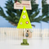 2 PCS Christmas Decorations Wooden Felt Button Christmas Tree Creative Ornaments (Green Christmas Tree)