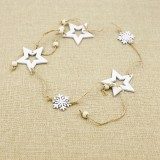 Christmas Decoration Christmas Tree Wood Decoration Pendant Elk Snowflake House Sling Hanging (D Five-pointed Star)
