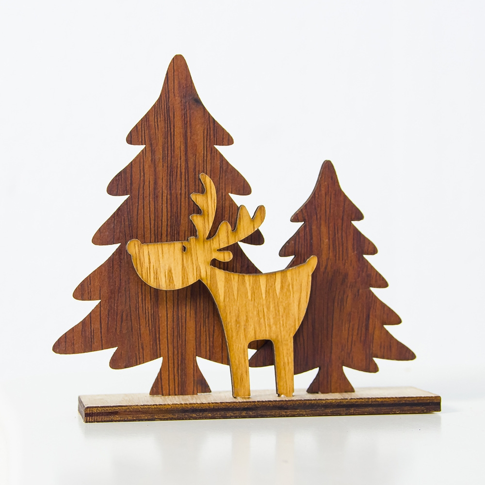 2 PCS Christmas Decoration Wood Christmas Tree Elk Splicing Ornaments Mini Christmas Small Ornaments, Specification: Large