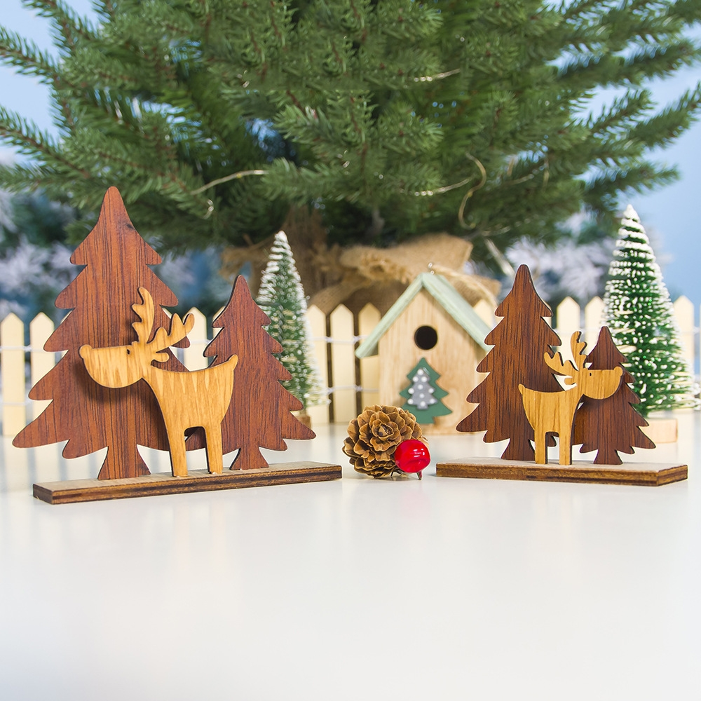 2 PCS Christmas Decoration Wood Christmas Tree Elk Splicing Ornaments Mini Christmas Small Ornaments, Specification: Small