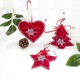 2 Packs Christmas Cloth Ornament Creative Christmas Tree Pendant Home Decoration Pendant (Heart + Star + Christmas tree)