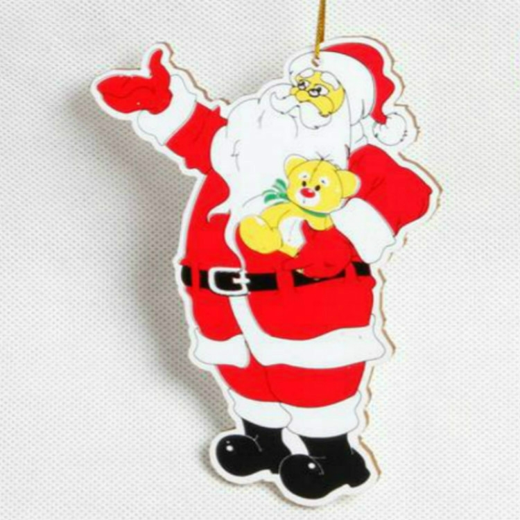 2 PCS Paper Cartoon Christmas Santa Claus Snowman Christmas Tree Pendant (Hug Cat Santa Claus)