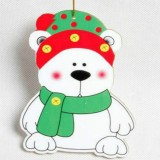 2 PCS Paper Cartoon Christmas Santa Claus Snowman Christmas Tree Pendant (Scarf Bear)