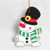 2 PCS Paper Cartoon Christmas Santa Claus Snowman Christmas Tree Pendant (Top Hat Snowman)