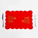 2 PCS Christmas Placemat Embroidery Table Knife and Fork Mat (Christmas Tree Santa Claus)