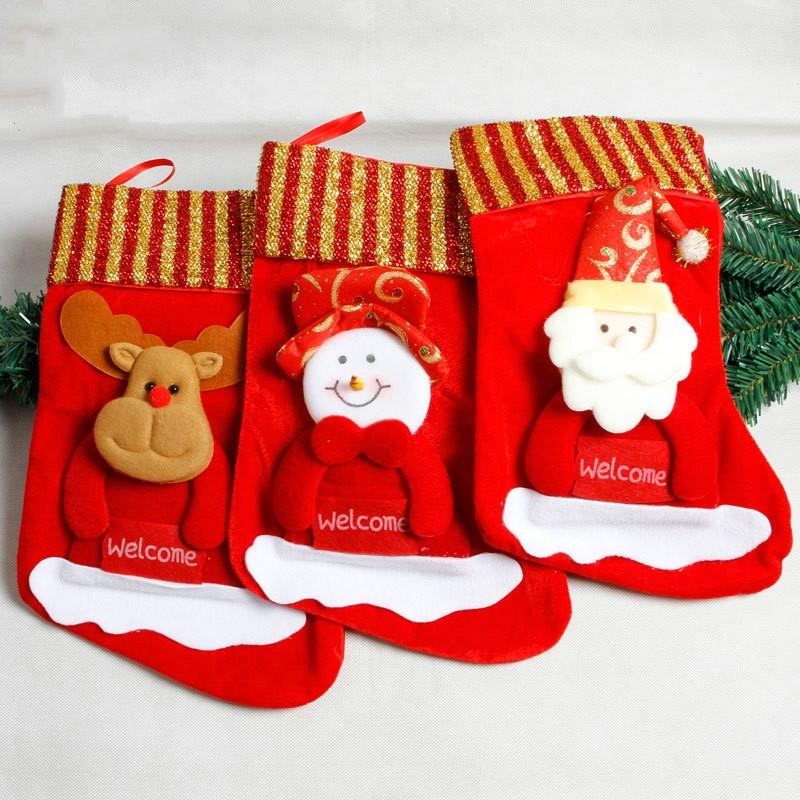 Christmas Sock Christmas Candy Bag Santa Gift Bag Christmas Pendant (Santa Claus)